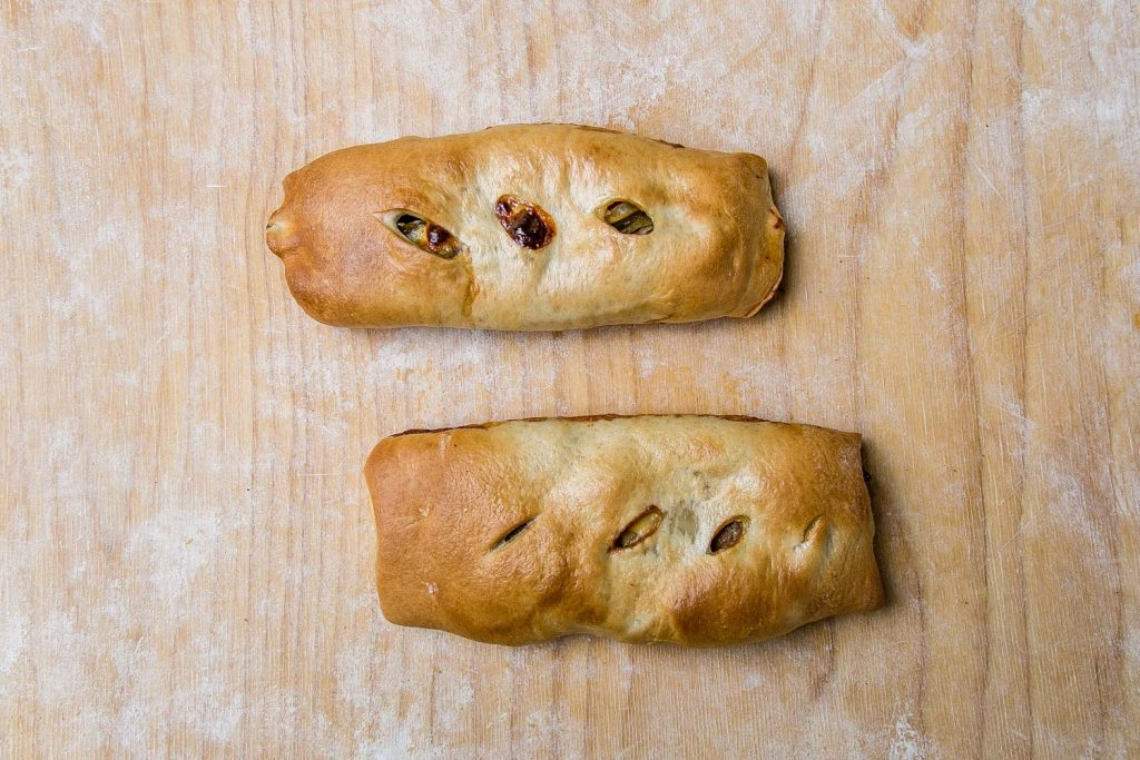 Sausage Stuffed Bread (w/ sweet pepper, cheese)