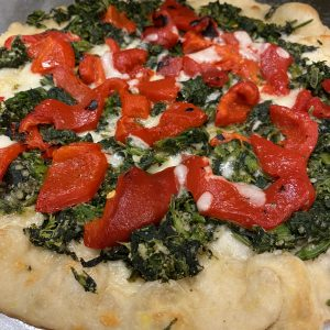 broccoli rabe roasted pepper pizza